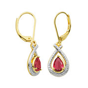 Classic Treasures™ Lab-Created Ruby and Diamond-Accent Pear-Shaped Drop Earrings
