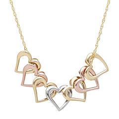14K Tri-Color Gold Mystic Open Hearts Necklace