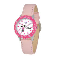 Disney Time Teacher Minnie Mouse Kids Pink Leather Strap Watch