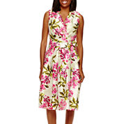 Jessica Howard Sleeveless Floral Shantung Shirtdress