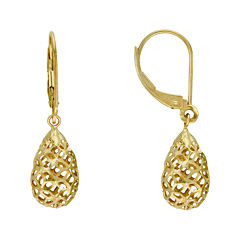 14K Yellow Gold Filigree Balloon Drop Earrings