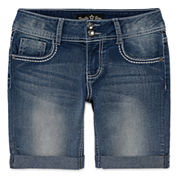 Vanilla Star® Denim Bermuda Shorts with Embellished Pockets - Girls 7-16 and Plus