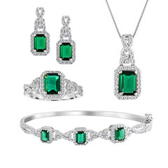 Womens 4-pc. Simulated Emerald Silver Over Brass Jewelry Set