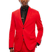 JF J. Ferrar Cotton Cabret Red Sport Coat-Slim