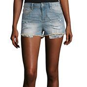 Arizona High-Rise Denim Shorty Shorts - Juniors