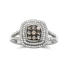 1/2 CT. T.W. White & Champagne Diamond Statement Ring