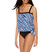 Azul By Maxine Of Hollywood Bandeau Tankini Swim Top or Solid Hipster Bottoms