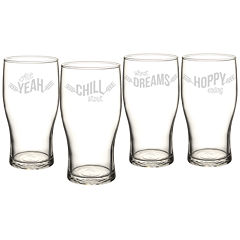 Cathy's Concepts Beer Pun Pilsner 4-pc. Beer Glass Set