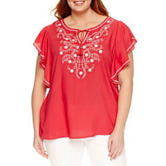 St. John's Bay Short Sleeve Scoop Neck Woven Blouse-Plus