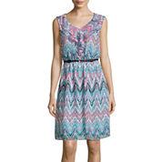 Alyx® Sleeveless Chevron-Print Ruffle-Front Belted Blouson Dress
