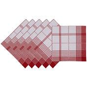 Design Imports Radish Plaid Set of 6 Napkins