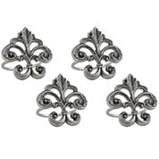 Design Imports Fleur De Lis Set of 4 Brass Napkin Rings