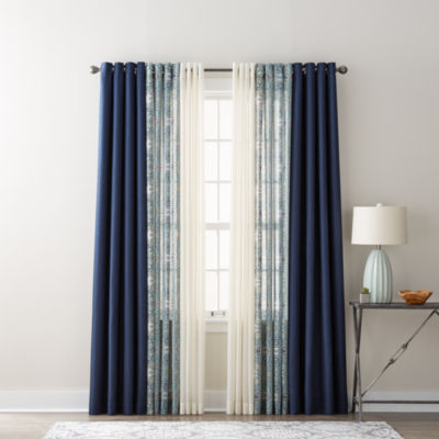 JCPenney Home Quinn, Batiste Paisley, u0026 Batiste Solid Sheer Grommet-Top Curtain  Panels