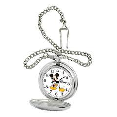 Disney Mens Mickey Mouse Silver-Tone Pocket Watch