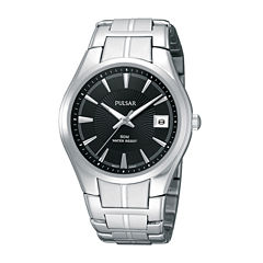 Pulsar® Mens Black Dial Stainless Steel Bracelet Watch PXH913