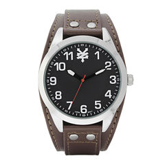 Zoo York® Mens Black Silver-Tone Brown Strap Watch