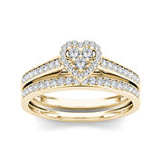 1/2 CT. T.W. Diamond 10K Yellow Gold Heart-Shaped Bridal Set