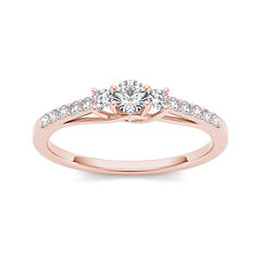 tw diamond 10k rose gold 3 stone engagement ring - Jcpenney Jewelry Wedding Rings