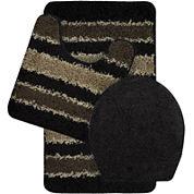 Bath Frieze Deliso Striped Shag 3-pc. Bath Mat Set