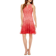 Liz Claiborne Sleeveless Embellished Lace Fit & Flare Dress