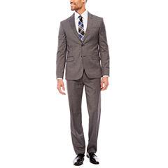 JF J. Ferrar Stretch Gray Multi Check Suit Separates- Slim Fit
