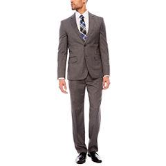JF J. Ferrar Stretch Gray Check Suit Separates- Classic Fit
