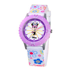 Disney Time Teacher Minnie Mouse Kids Floral Strap Watch