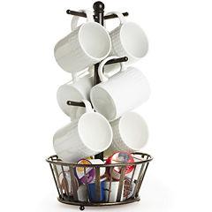 Gourmet Basics by Mikasa® Band & Stripe Mug Tree with Bottom Basket