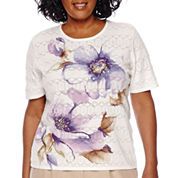 Alfred Dunner® Fields Short-Sleeve Pointelle Floral Top - Plus