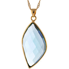 ATHRA Aqua Glass Marquise Pendant Necklace