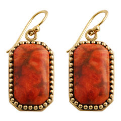 Art Smith by BARSE Sponge Coral Rectangle Earrings