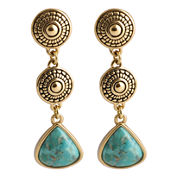 Art Smith by BARSE Turquoise 3-Drop Triangle Earrings