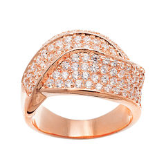 18K Rose Gold Over Brass Cubic Zirconia Ring