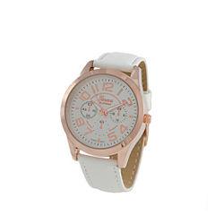 Geneva Platinum Womens White Strap Watch-4658