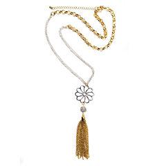 Arizona Freeform Womens White Strand Necklace