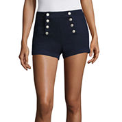 Almost Famous Navy High-Rise Sailor Shorts-Juniors