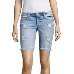 Arizona Skinny Fit Denim Bermuda Shorts-Juniors