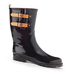 Henry Ferrera Black Stone Belted Mid-Calf Rain Boots