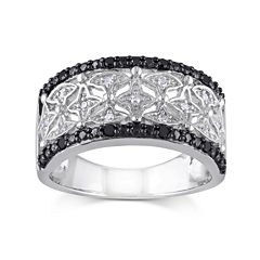 1/7 CT. T.W. White and Color-Enhanced Black Diamond Two-Tone Sterling Silver Ring