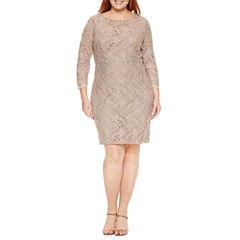 Jackie Jon 3/4 Sleeve Beaded Lace Sheath Dress-Plus