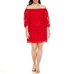 Tiana B 3/4 Sleeve Off the Shoulder Lace Sheath Dress-Plus