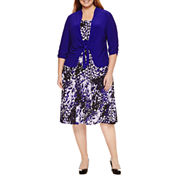 Perceptions 3/4 Sleeve Tie Front Knit Jacket Dress-Plus