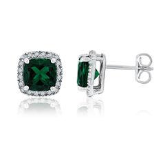 Cushion Green Emerald Sterling Silver Stud Earrings