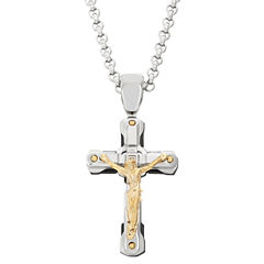Mens Diamond Accent White Diamond Accent Stainless Steel Pendant Necklace