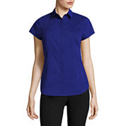Worthington® Short-Sleeve Button-Front Oxford Shirt - Petite