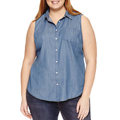St. John's Bay® Sleeveless Button Front Shirt - Plus