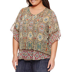 Unity World Wear 3/4 Sleeve V Neck Woven Blouse-Plus