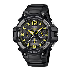 Casio® Mens Black Resin Strap Chronograph Watch MCW100-9AV