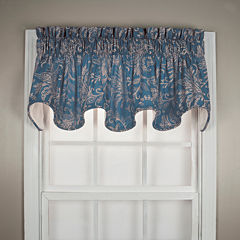Floating Leaves Scalloped Lined Rod-Pocket Valance