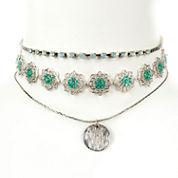 Arizona Freeform Womens Multi Color Choker Necklace